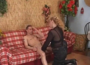 Filthy mom sucks her son dick on the knees