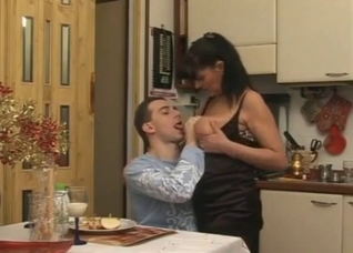 Sexy busty stepmom seduced her stepson