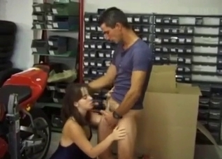 Angelic young brunette blows her brother's dick