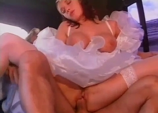 My sexy sister rides my dick in the limo