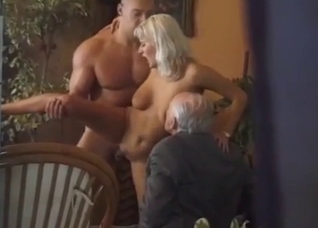 Busty blonde gets banged by her muscled brother