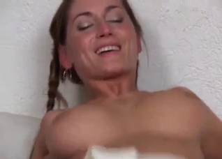 Pigtailed big-boobed sister rides a hard dick