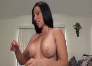 Green-eyed stepsister performs a deep blowjob