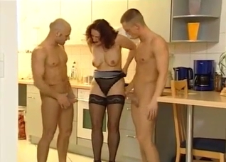 Two guys are pounding their shared sister