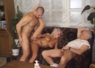Busty blonde auntie eats my sperm after incest sex