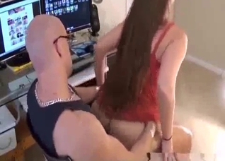 Long-haired babe rides her brother dick in the studio