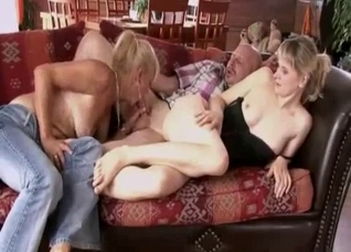 Lucky bald daddy enjoys his lusty daughter and wife
