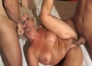 Curly-haired blonde MILF have nice sex with her sons