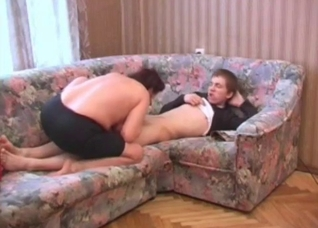 Young man is getting sucked by his slutty mom