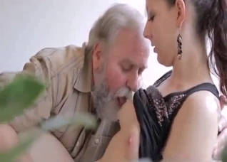 Filthy perverted grandpa licks his granddaughter's cunt