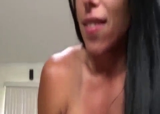 Big-ass brunette rides a huge dick of her bro