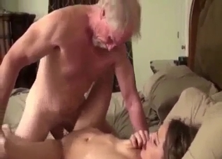 Skinny young chick bangs with a perverted grandpa