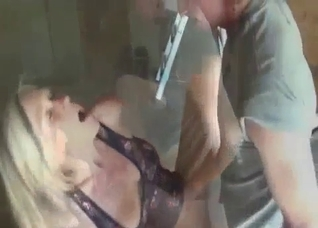 Blonde sister sucks her brothers dicks outdoors