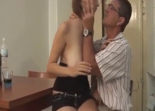 Pigtailed big-boobed babe and a nasty uncle