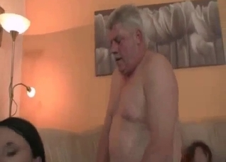 Granddad gets a good blowjob by a granddaughter